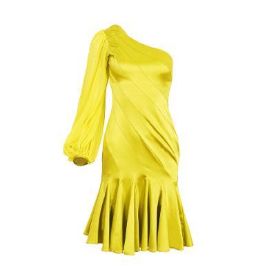 one shoulder satin midi dress olive